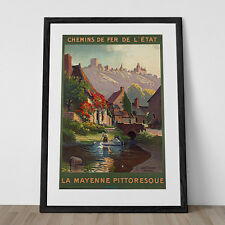 FRENCH TRAVEL POSTER Mayenne Travel Poster 1920's Wall Art Print Art Deco Poster
