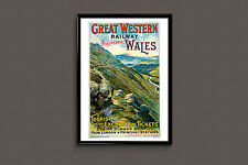 Wales Travel Poster Travel Print Art Deco Poster Art Deco Print Mountain Poster