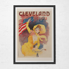ANTIQUE BICYCLE POSTER - Cleveland Cycles Poster - Art Nouveau Poster, High Qual