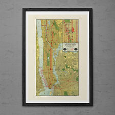 Vintage MANHATTAN Map Print Antique Wall Art - Vintage Map of New York - NYC map