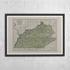 KENTUCKY VINTAGE MAP - Vintage Map of Tennessee - Old Map Print, Vintage Wall Ar
