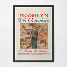 VINTAGE CHOCOLATE POSTER - Hersheys Chocolate Ad - Chocolate Lover Gift, Kitchen