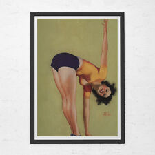 PIN UP GIRL Poster - Green Retro Poster - Vintage Stockings Wall Art, Kitsch Che