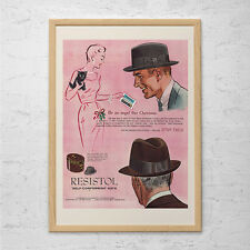 RESISTOL HAT AD  - Vintage Fashion Ad - Mid Century Poster Mad Men Poster Mad Me