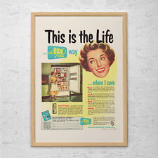 VINTAGE FRIDGE AD - Retro Mid-Century Ad - Vintage Laundry Room Poster 1950's Re