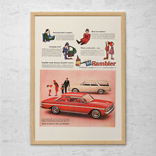 VINTAGE AMC RAMBLER Car Ad - Retro Car Ad-  Mid-Century Poster Retro Convertible
