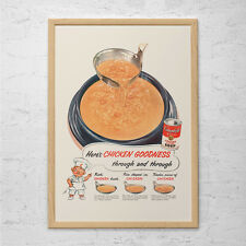 CAMPBELL'S SOUP AD - Retro Mid-Century Ad - Vintage Cooking Poster 1950's Retro