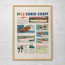 VINTAGE BOAT Ad - Retro Chris-Craft Ad -  Classic Boating Ad Mid-Century Poster