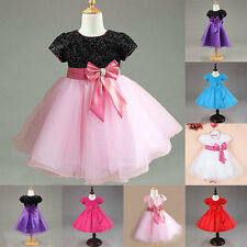 1-7Y Kids Baby Girls Tulle Princess Dress Bowknot Short Sleeve Tutu Party Dress
