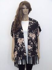New womens navy with beige and burgundy floral print fringed kimono size S-XL