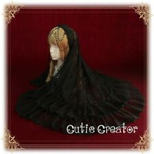 Vintga Gothic Lolita Dark Fantasy Lace Veil Bead Chain Headband Hair Band #C54