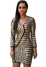 Long Sleeve Gold Sequin Dress LC22575 sexy club 2016 women bandage formal ladies