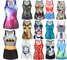 Women 3D Digital Print Sleeveless T-shirt Punk Racerback Tank Tops Vest Camisole