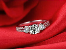 Stunning18k White Gold Plated Swarovski Crystal Women Engagement Ring MS07
