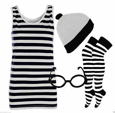 Womens Black And White Striped Vest Top T-Shirt Ladies Hat Glasses Socks Outfit