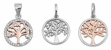 ".925 Sterling Silver ""TREE OF LIFE PENDANT"" WITH BOX CHAIN-015 NECKLACE 18"""