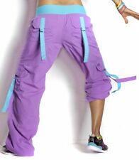 ZUMBA CARGO Samba Hip Hop PANTS --Converts-to-Capris w Snaps-- RARE!! ORCHID S M
