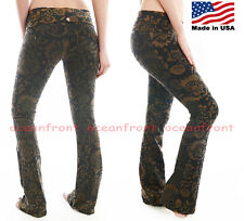NEW T-Party Foldover Fancy Antique Floral Brown Printed Design Yoga Pants S M L