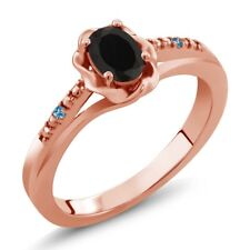 0.40 Ct Oval Black Onyx and Swiss Blue Simulated Topaz 14K Rose Gold Ring