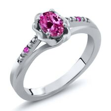 0.52 Ct Oval Pink Created Sapphire Pink Sapphire 18K White Gold Ring