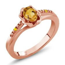 0.42 Ct Oval Yellow Citrine Yellow Sapphire 18K Rose Gold Plated Silver Ring