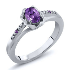 0.36 Ct Oval Purple Amethyst 18K Rose Gold Plated Silver Ring