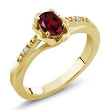 0.52 Ct Oval Red Rhodolite Garnet White Created Sapphire 14K Yellow Gold Ring