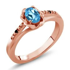 0.51 Ct Oval Swiss Blue Topaz Black Diamond 18K Rose Gold Plated Silver Ring