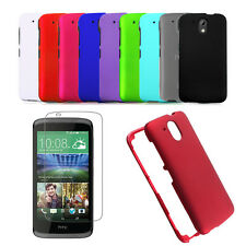 HTC Desire 526 Multicolor Hard Rubberized Rigid Snap On Cover Case+Thin Film