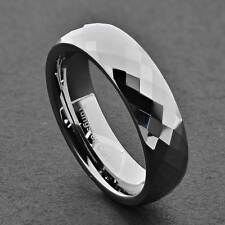 6mm Diamond Faceted Shiny Tungsten Carbide Band Jewelry Women's Wedding Ring