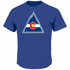 Colorado Rockies NHL Vintage Logo Tek Patch Mens Hockey T-Shirt