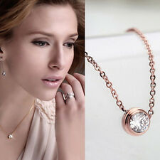 Elegant 18K Rose Gold Plated Crystal Round Circle Chain Pendant Necklace Jewelry