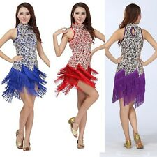 Women Ladies Latin Dance Dress Sleeveless Salsa Tango Cha Cha Tassel Dance Dress