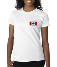 Canadian Flag Canada Pride Hockey Embroidered Ladies T-Shirt S-2XL