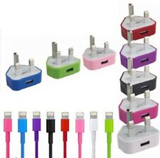 100% Genuine-CE-Mains Charger UK Plug+Sync Lead Cable For iPhone iPad