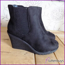 Womens Black Faux Suede Wedge Heel Pull on Comfy Ankle Boots Ladies Size New