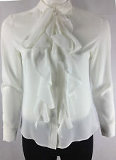 Womens/Ladies New Long Sleeve Pussy Bow Frill Tie High Neck Top Blouse