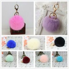 Soft Cute Genuine Rabbit Fur Ball Cell Phone Car Pendant Handbag Key Chain Ring