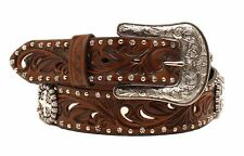 Ariat Western Womens Belt Leather Embossed Cross Concho Brown A1518602