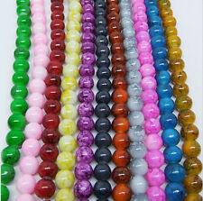 8mm 30Pcs Mixed Round Chic Glass Loose Spacers Painted Pearl Charm Beads