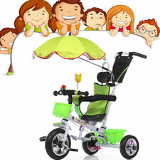 Children Kids Toddlers 4 In 1 Tricycle Bike Ride Trike with Handle Push & Canopy