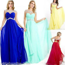 Women Long Chiffon Evening Prom Party Dress Bead Formal Bridesmaid Dresses Gown