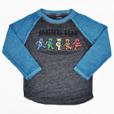 Toddlers Grateful Dead Raglan T-Shirt Gray Blue Dancing Bears Logo Burnout Print