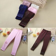 Baby Kids Girls Lace Flower Leggings Ballet Dance Tight Pants Stretch Trousers