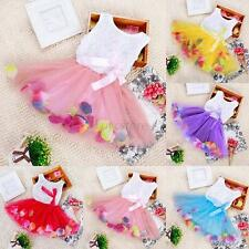 Baby Girls Toddler Kids Princess Lace Party Bow Dress Clothes Petal Dress