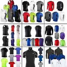 Mens Athletic Apparel Compression Under Base Layer Top Tight Skin Workout Shirts