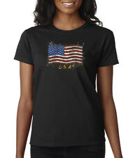 American Flag USA Stars And Stripes Ladies T-Shirt S-2XL