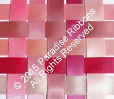 10 METRES Berisfords Double Satin Ribbon 10 PINK SHADES Choose WIDTH & SHADE