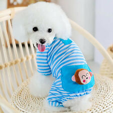 Small Pet Dog Stripes Pajamas Coat Puppy Jumpsuit T-shirt Clothes Apparel XS-XL