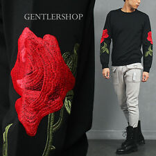 Avant Garde Men's Rose Stitched Printing Neoprene Black Sweatshirt, GENTLER